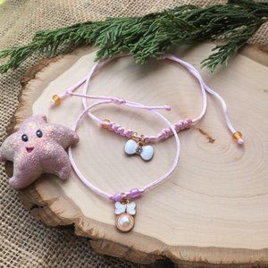 Mommy and Me bow tie Pearl set handmade bracelet